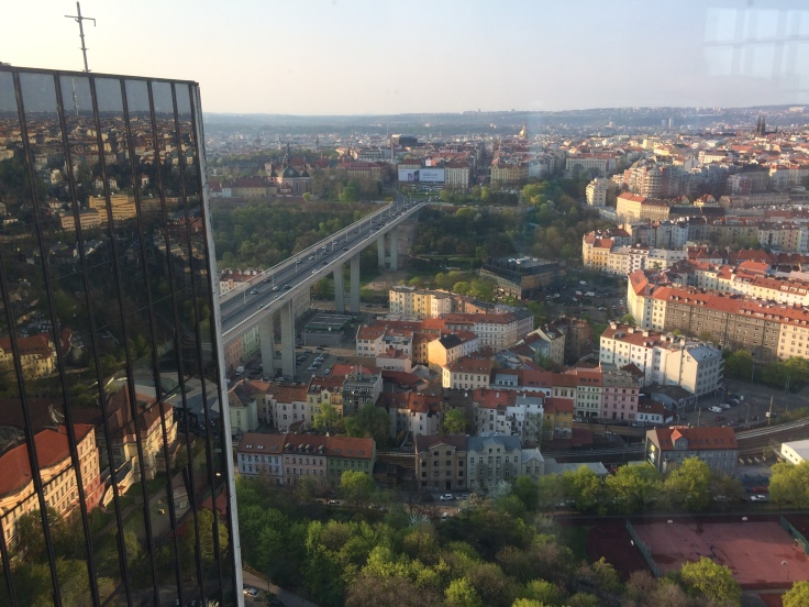 View of Prague from the top-floor spa pool of the Corinthia Hotel
