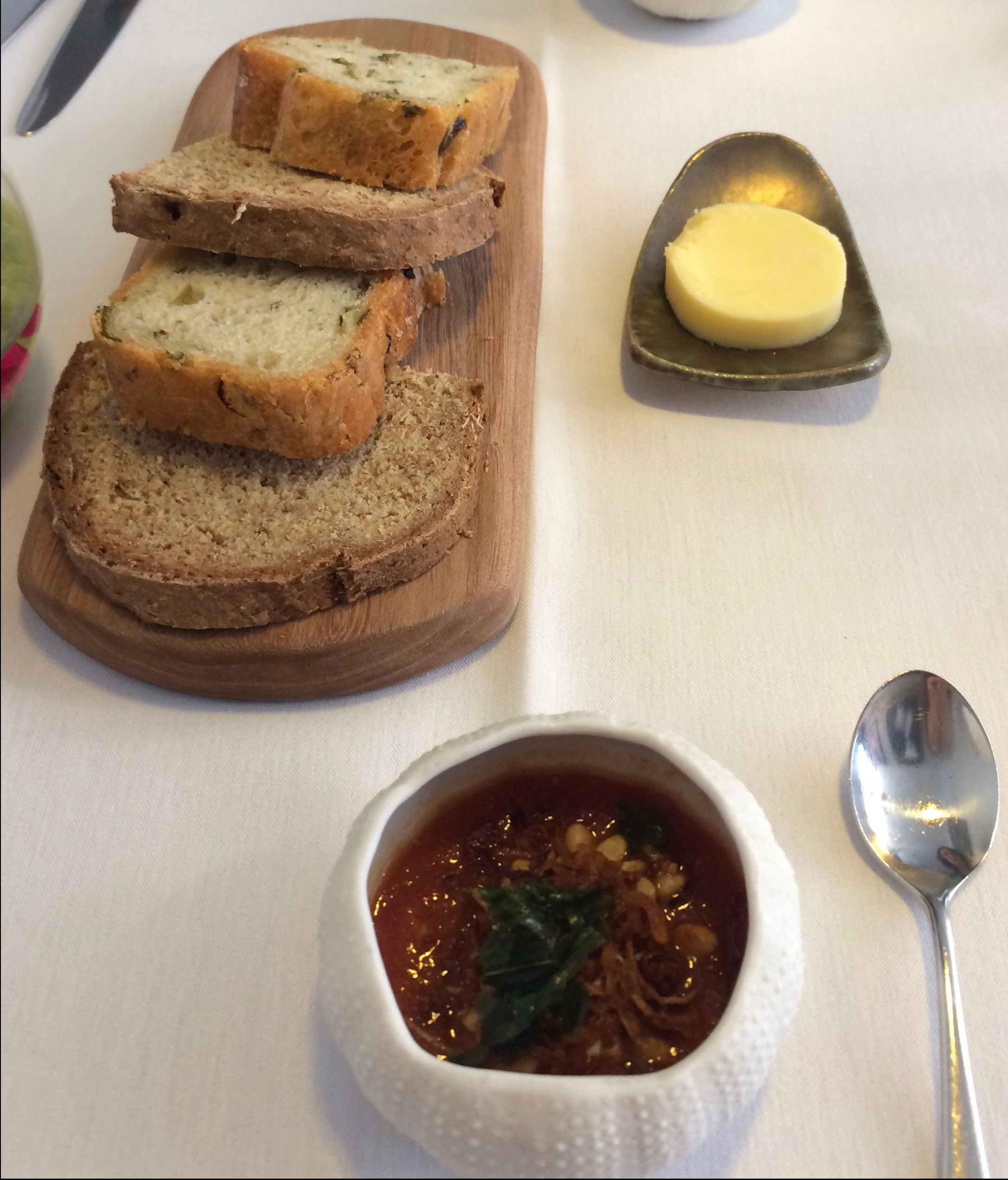Bread and amuse bouche at Roger Hickman's fine dining restaurant in Norwich