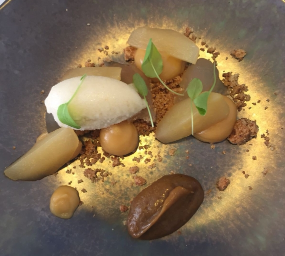 Pear dessert at Roger Hickman's fine dining restaurant in Norwich